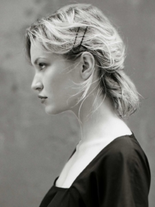 black and white outdoor profile portrait of Sveta