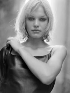 black and white back-lit location portrait of Vera