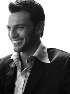 black and white high-key profile studio portrait of Antonio published in fashion magazine