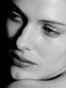 black and white close-up glamour studio portrait of Cari
