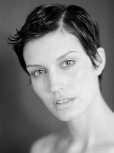 black and white studio beauty portrait of model Paula Patrice