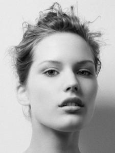 black and white studio beauty headshot of Signe