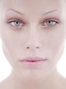 colour high-key studio close-up beauty headshot of model Emma
