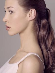 colour studio profile portrait of model Julienne for Vogue magazine